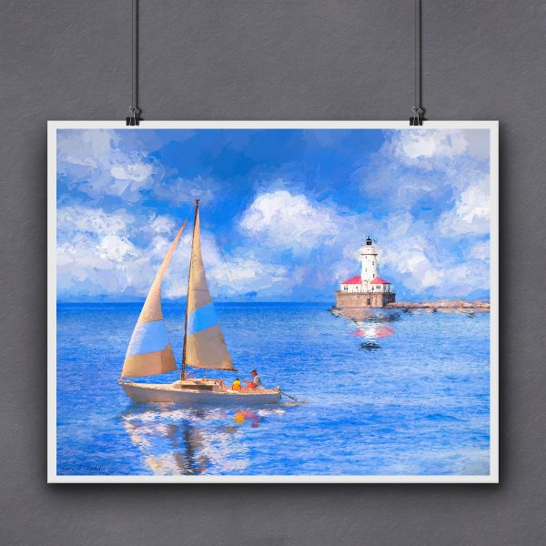Chicago Harbor Lighthouse art print for framing