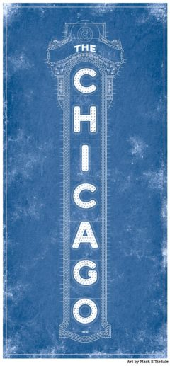 Chicago Theatre Blueprint Art by Mark Tisdale