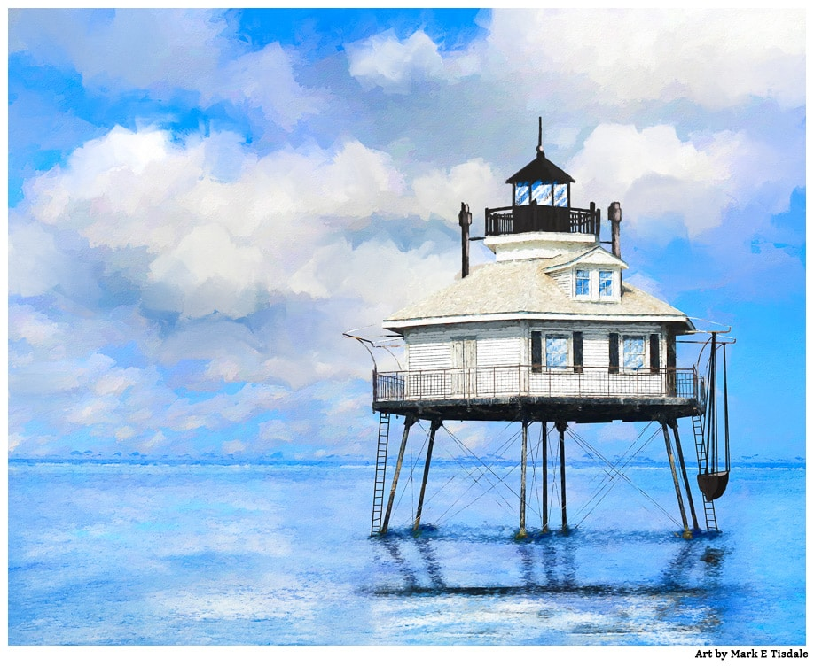 Alabama Lighthouse Art Featuring the Middle Bay Lighthouse near Mobile as it looked historically