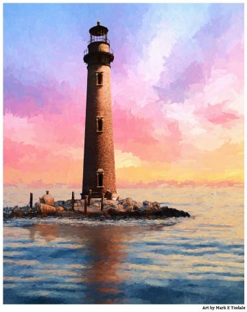 Alabama Lighthouse Art - Sand Island Light