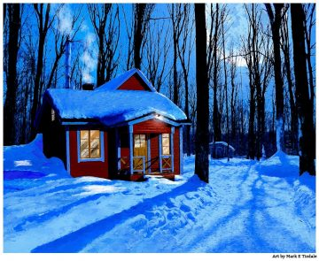 Winter Cabin Art Print - A little red Cabin in Moonlit wood by artist Mark Tisdale